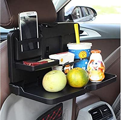 i-BOSOM Black Car Food Tray Folding Dining Table Drink Holder Car Pallet for Back Seat Water Car Cup Holder - inexpensive UK light shop.