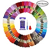 Fuyit Embroidery Threads 144 Skeins with 3 Free Embroidery Tools Rainbow Colour Floss Cross Stitch Threads Craft thread Sewing Thread for DIY Crafts Friendship Bracelets (48 Colors)