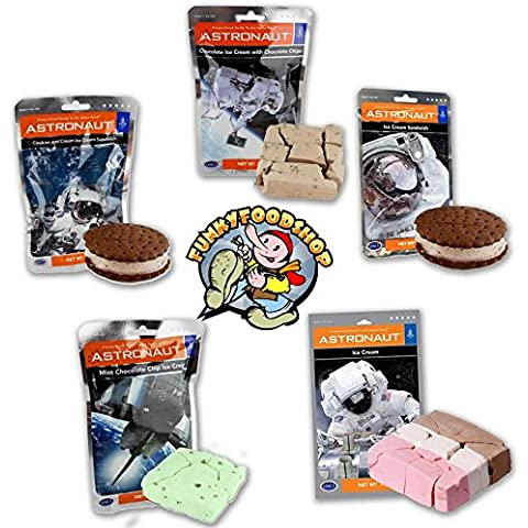 Astronaut Ice Cream Neapolitan, Mint, Cookies & Cream, Sandwich and Chocolate Chip Freeze Dried Food by Universal Specialties