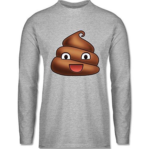 Statement Shirts - Kackhäufchen Emoji - Longsleeve / langärmeliges T-Shirt für Herren Grau Meliert