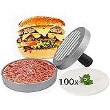 Belmalia Presse Burger ➕ 100 Feuilles de Papier Cuisson ➕ pour Parfaits Burgers, Hamburgers, Cheeseburgers, Fricadelles, Boulettes de Viande, Poêle, Barbecue, Anti-adhésif, 11cm