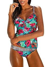Damen Blouson Floral Sporty Tankini Set Bademode Zweiteiler Badeanzug Bikini 1b9acc8c49