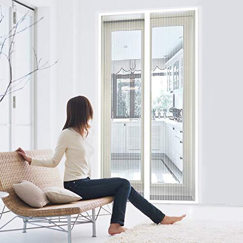 SODKK Zanzariera Magnetica 80x220cm, Adsorbimento Magnetico Pieghevole Totalmente Magnetica, for Corridoi/Porte/Patio - Bianco