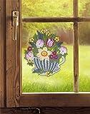 Plauener Spitze Fensterbild BLUMENTASSE für den Frühling (BxH) 22 x 24 cm inkl. Saughaken Fensterdeko