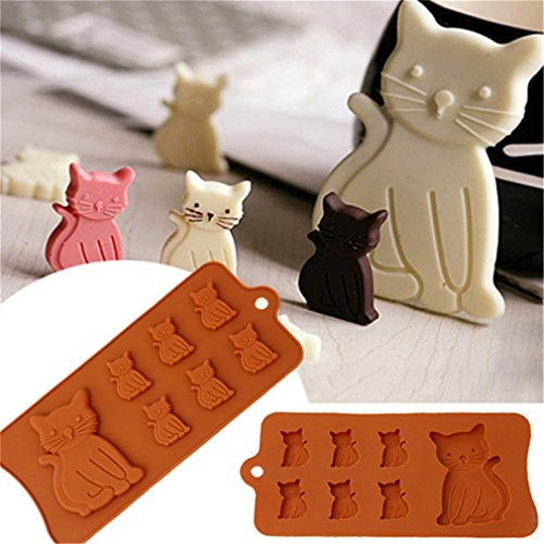 HENGSONG Niedlich Katze Mould Silikon Form Kuchenform Fondant Schokolade Form DIY Backen Formen Dekorieren (Schokolade-backen-form)