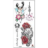 tzxdbh 5 Pcs-New 3D Tatouage Autocollant Lady Bras Fleur Croquis Aquarelle...