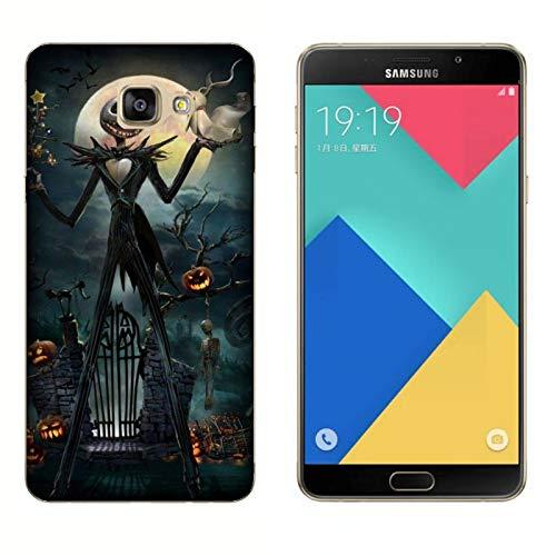 17) Case Samsung Galaxy A9 (2017) Halloween Skelett mit Kürbissen/Cover Druck auch an den Seiten/Anti-Rutsch Anti-Rutsch Anti-Scratch Schock-resistenten Schutz Schutzulle Star ()