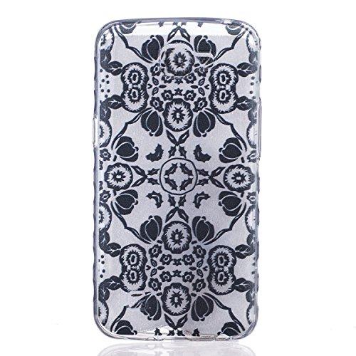 Cozy Hut Crystal Case Hülle für LG K4 aus TPU Silikon mit Schwarze Blumen Design - Schutzhülle Cover klar in schwarz Weiß Transparent - Schwarze Blumen