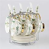 AOPT Juego De Tazas De Té Camellia para Taza Juego De Té De Porcelana Combinada6 Tazas con Retención