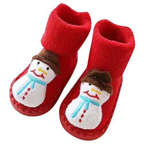 catmoew Kind socken (0-24M) Hausschuhe Baby Weihnachten Socken Antirutsch Mädchen Junge Elch Warm Weiche Sohle Elegant Weihnachts Lauflernschuhe Warme Socken Rutschfeste