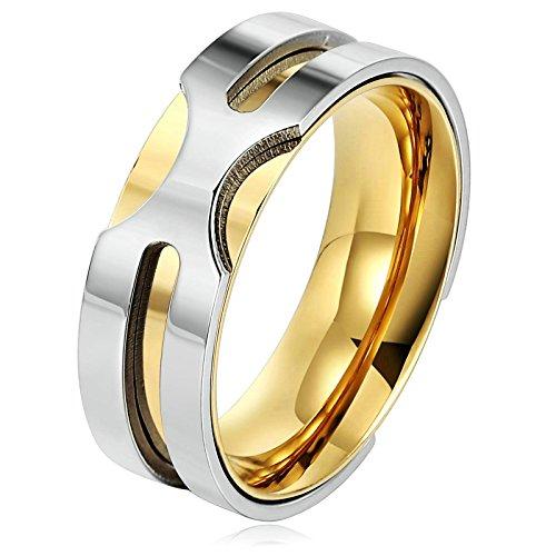 BeyDoDo Modeschmuck (Kostenloser Gravur) Edelstahl Ring für Ihn Breite 8MM mit 60cm KetteVerlobungsring Trauring Gold Silber Ringgröße 62 (19.7)