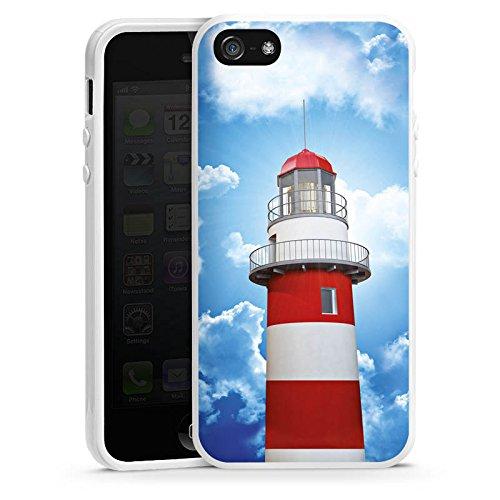 Apple iPhone 5s Housse Étui Protection Coque Phare Ciel Nuages Housse en silicone blanc