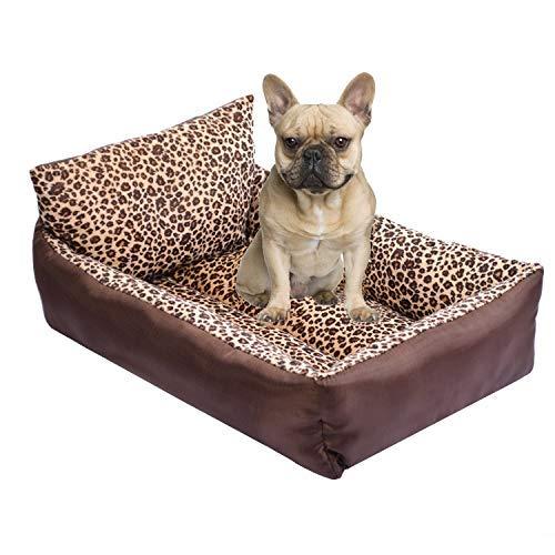 Kondrao - Cama estilo sofá respaldo perros, estampado