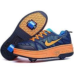 Miarui Roue Chaussures de Sport Chaussures de Skate à roulettes Chaussures roulettes Fille Et garçon Entraînement Roller Skate Chaussures avec roulettes Doubles Bouton Poussoir Ajustable,Marine,36