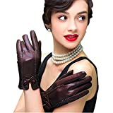 Edith qi Mujer Guantes, Las mujeres de piel de cordero de cuero Guantes invierno cálido forro polar guantes touchscreen, Regalo de invierno