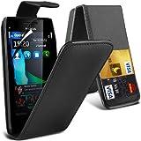 (Schwarz) Nokia X7/ X7-00 Schutzhülle aus Kunstleder Debit/Credit Card Steckplatz Flip Case Cover & 3 Screen Protector Guard von Aventus * *
