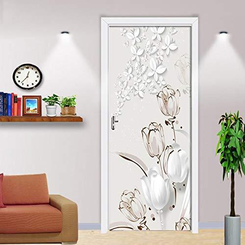 BXZGDJY 3D-Effekt Bücherregal Stil Wandbild Wrap Wandaufkleber Für Home Office Schlafzimmer Dekoration 95X215Cm Tulpe -