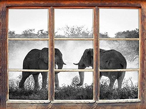 Les éléphants se battent art B & W Fenêtre en 3D look, mur ou format vignette de la porte: 62x42cm, stickers muraux, sticker mural, décoration murale