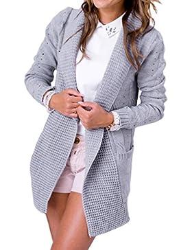 Zeta Ville - Chaqueta cárdigan rebeca bolsillos manga larga - para mujer - 970z