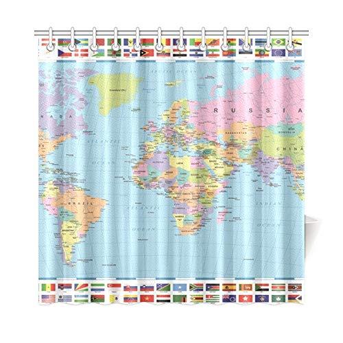Jochuan home decor tenda da bagno colorata mappa del mondo bandiere tessuto in poliestere impermeabile tenda da doccia per bagno, 72 x 72 pollici tende da doccia ganci inclusi