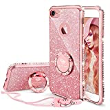 OCYCLONE Coque iPhone 7 Strass, Coque iPhone 8 Strass, Brillante Diamant Bling Bling Coque pour Fille Femme Glitter Pailleté Anneau Stand Support Coque Apple iPhone 7/8 - Or Rose
