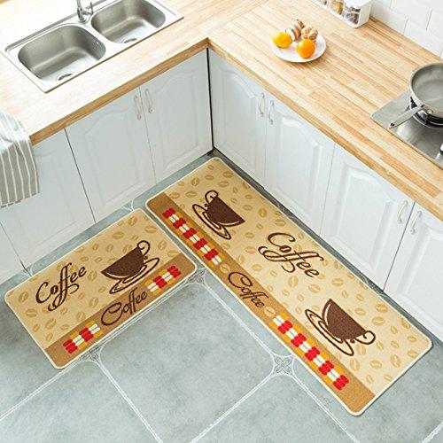 Kong EU abosrbent Küche Teppiche Gummirückseite Dekorative Rutschfeste Fußmatte Läufer Bereich Teppich Schmutzfangmatten Sets Schnell trocknend 2Stück, Coffee Cup, 50x80cm+50x150cm