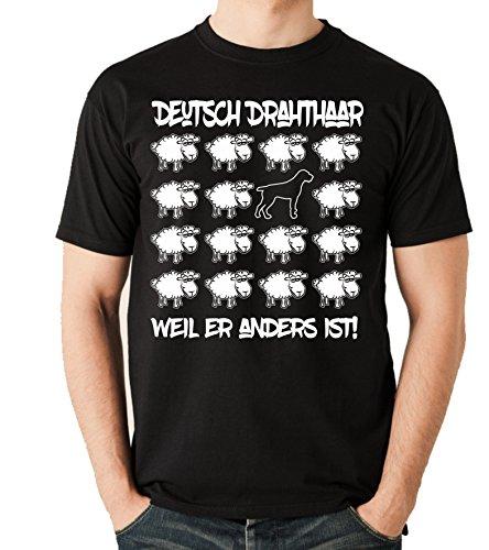 Siviwonder Unisex T-Shirt BLACK SHEEP - DEUTSCH DRAHTHAAR DD Jagd - Hunde Fun Schaf Schwarz