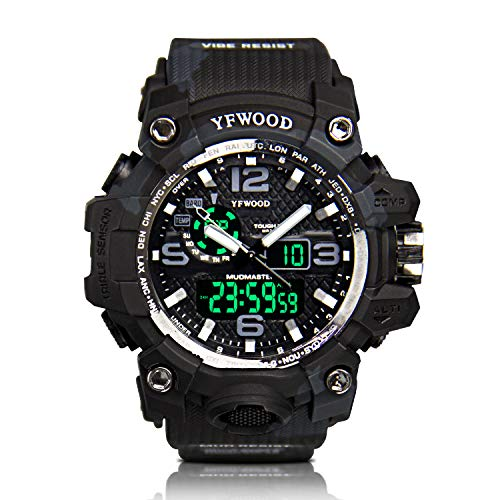 Orologio militare da uomo sport orologio al quarzo giapponese movimento multifunzionale resistente agli urti, quadrante nero LED light Alarm Army analogico digitale orologio da polso