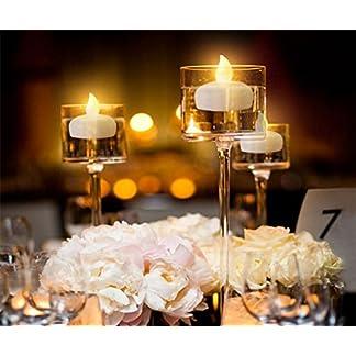 COUTUDI 12 Piezas Sin Llama Parpadeo Luces de té/Velas Flotantes para Centros de Mesa, Larga Vida Activado por Agua LED Luces de té para la Boda Fiesta Decoración Floral Batería Incluida