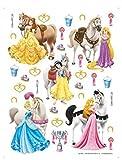 1art1 75271 Disney Prinzessin - Belle, Rapunzel, Schneewittchen, Cinderella, Aurora Und Ihre Pferde Wand-Tattoo Aufkleber Poster-Sticker 65 x 42 cm