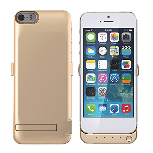 Batterie Coque iPhone 5 5S 5C SE Cover, Forhouse Battery Externe Rechargeable Case Coque 4200 mAh Li-polymer Power Bank Portable Chargeur avec Kickstand Support Batterie Pack Etui Housse Antichoc Smar Golden