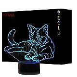 HPBN8 3D Katze Illusions LED Lampen Tolle 7 Farbwechsel Acryl Tabelle Schreibtisch-Nacht licht USB-Kabel für Kinder Schlafzimmer Geburtstagsgeschenke Geschenk【7 bis 15 Tage in Deutschland angekommen】