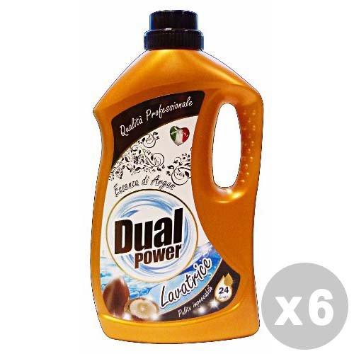 Dual Power Set 6 Detersivo Lavatrice Liquido 24 lavaggi argan 1,68 lt.