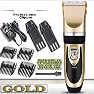 Super Quiet Cordless battery Electric Hair Cutting Machine RECHARGEABLE HAIR CLIPPER TRIMMER home Barber Clippers Set (GOLD)