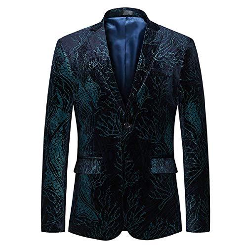Slim Fit Herren SAMT Design Sakko Paisley Mit Modernas Lässig Business Hochzeitsanzug Abschlussball Party Anzugjacken (Color : Schwarzblau, Size : 3XL)