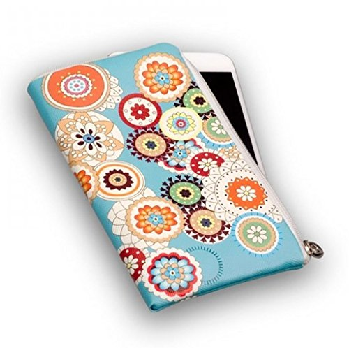 Reissverschluss Handytasche Softcase schwarz mit Strass Motiv Pink Wavegeeignet für Apple Iphone 8 - Handy Schutz Hülle Slim Case Cover Etui Tasche Flower