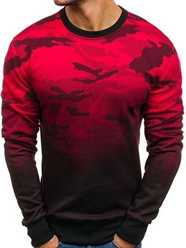 BOLF Herren Sweatshirt ohne Kapuze Sportlicher Stil Army Camo Motiv J.Style DD130-2 Rot M [1A1]
