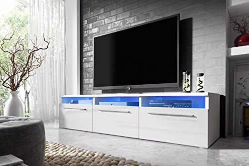 Selsey Lavello - Meuble TV blanc / fronts blanc brillant avec LED, 150 cm