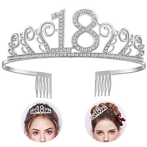 YIDAINLINE 18 Geburtstag Silber Kristall Tiara Krone für Geburtstagsfeiern oder Geburtstagskuchen