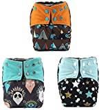 Sigzagor 3 AIll In One Night AIO Cloth Diapers Nappies Built In Charcoal Bamboo Insert Reusable Washable For Boys (Teepee Stars)