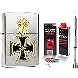 Zippo Briquet Chevalier de Croix Croix + accessoires L & tige Briquet Chrome