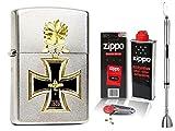 Zippo Feuerzeug Eisernes Kreuz Ritterkreuz + Zubehör L & Stabfeuerzeug Chrome