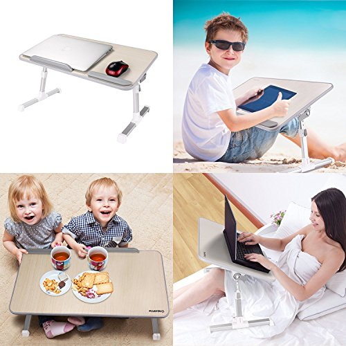 CONNECTWIDE® Multi-functional Laptop Desk with Hotkey Operation Adjustment nut , large USB fan, Aluminum alloy stent ,WOODEN LAPTOP TABLE WITH FAN, Laptop Bed Tray Table, Nearpow Adjustable Laptop Bed Stand, Portable Standing Table with Foldable Legs, Foldable Lap Tablet Table for Sofa Couch Floor, Qty.(1pcs) ,Color-Assorted ,Size- 52 x 30 cm, Height : 22 to 31 cm  available at amazon for Rs.1499