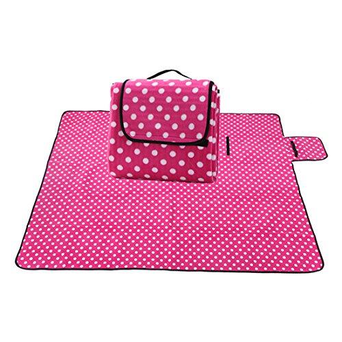 X-Labor Outdoor Picknick Decke Fleece 200x200 cm XXL mit Wasserdichter Unterseite Rosa Punkte