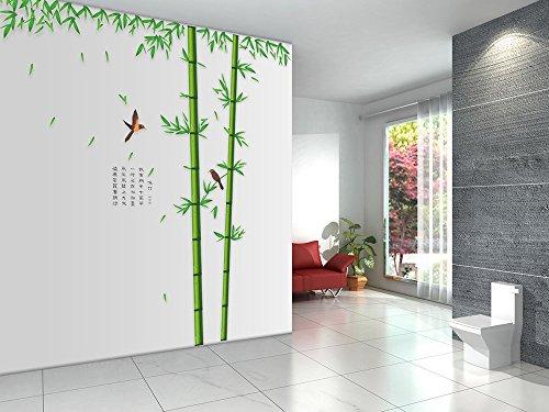 Wandsticker Bambus mit Vögeln Wand-Aufkleber Green Garden Series Wandtattoo mit Chinesischen Gedicht Extra Große Abnehmbare Vinyl DIY Sofa Hintergrund Wandtattoo Möbel für Wohnzimmer, Schlafzimmer - Blatt Esszimmer-möbel