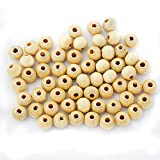 #3: Imported 100Pcs Natural Plain Round Wooden Bead With Hole Ball for DIY Craft Findings