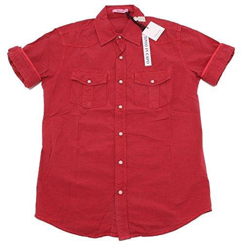 7180P camicia uomo rossa quadretti BERNA manica corta shirt men short sleeves [M]