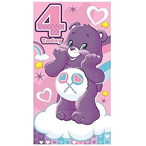 (Care Bears Glückwunschkarte zum 4. Geburtstag)