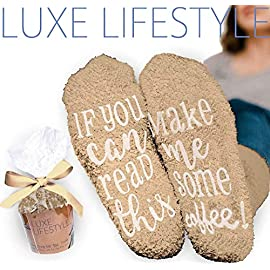 LUXE LIFESTYLE If You Can Read This Bring Me Some Coffee! – Funny Socks Cupcake Gift Packaging Thermal Fuzzy Warm Cotton Wife Women Hostess Housewarming Novelty Romantic Birthday Present Coffee Lover