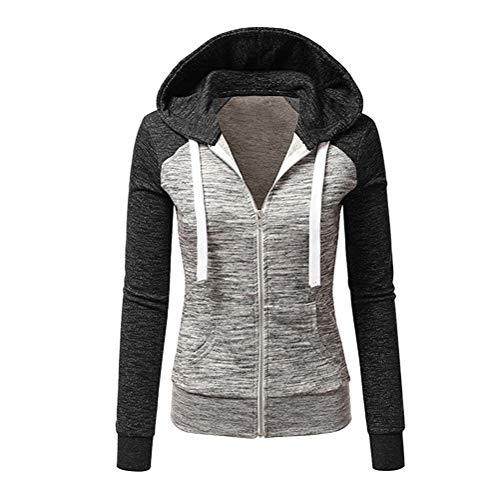 ORANDESIGNE Damen Gestreift Pulli Sweatshirts Hoodie Sport Langarm Reißverschluss Pullover Outerwear A Schwarz 42